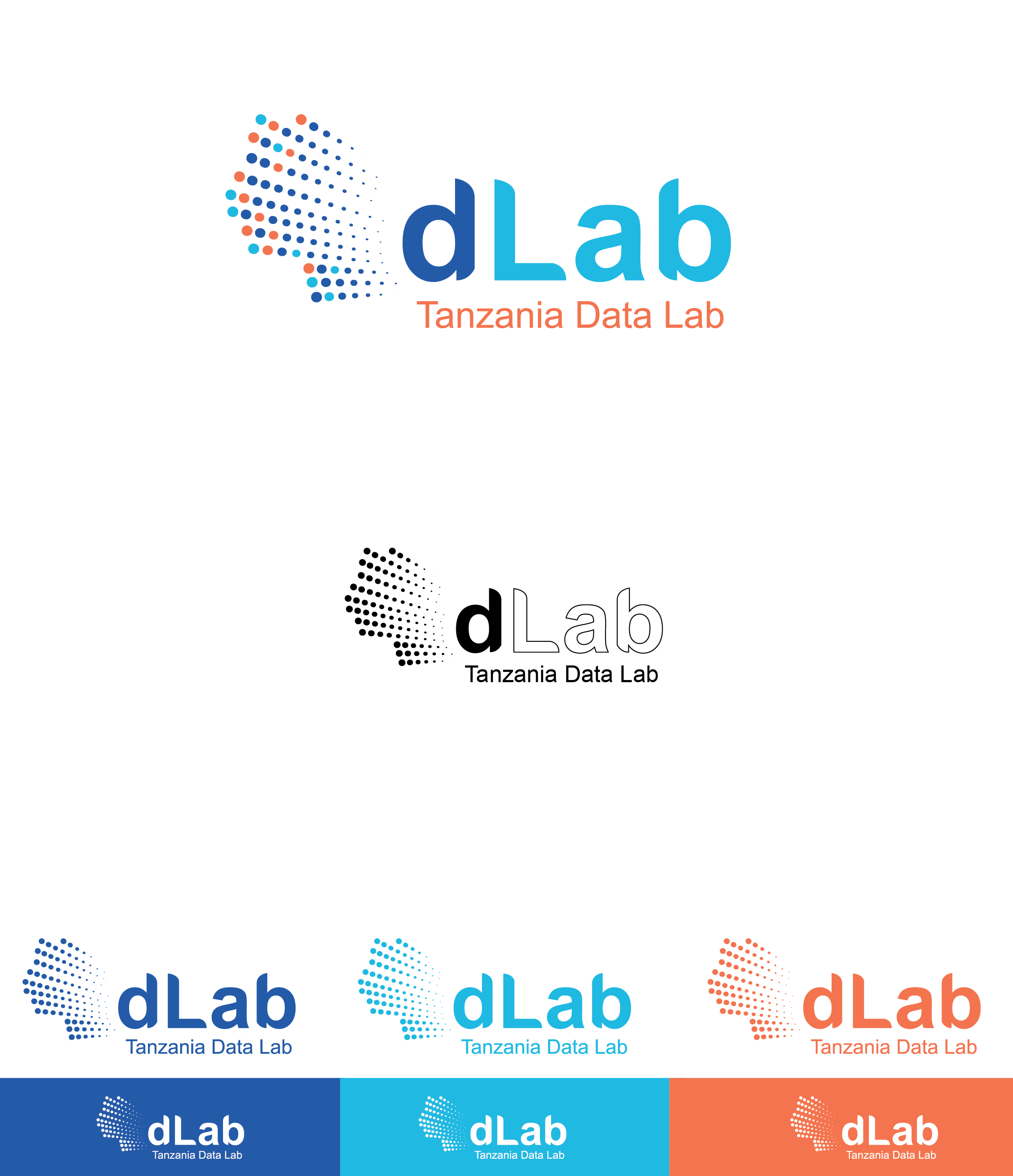 dLab logo in differenct colors